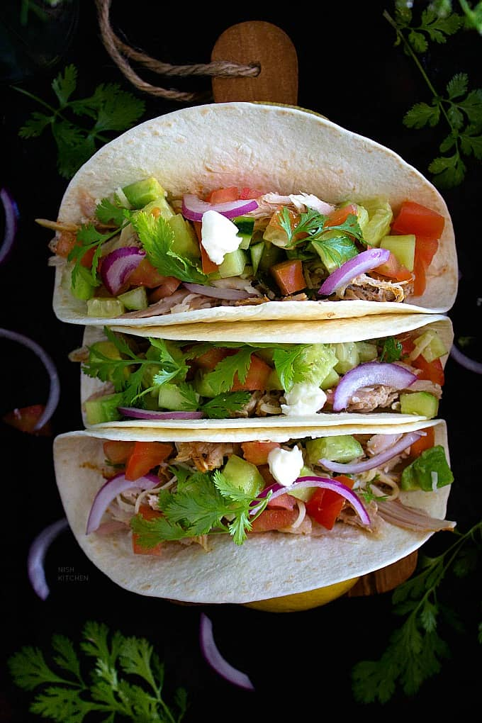 healthy tacos made with lefover roast turkey