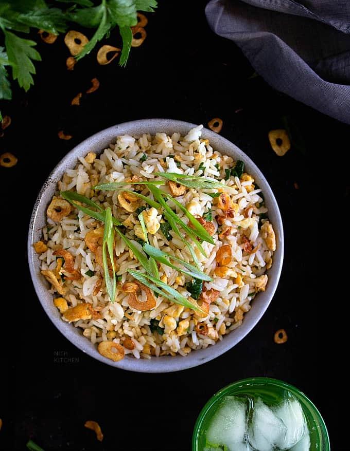 Japanese garlic fried rice recipe